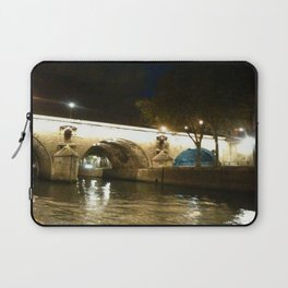 Paris - Bridge under lights Laptop Sleeve