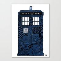 tardis Canvas Prints featuring Tardis by Rebecca Bear