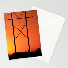Blazing Orange Kansas Sunset with power lines and a farmer in the field. Stationery Cards
