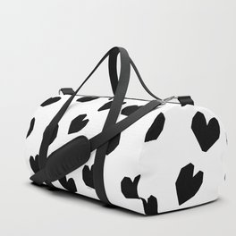Love Yourself no.2 - black heart pattern love art black and white illustration Duffle Bag