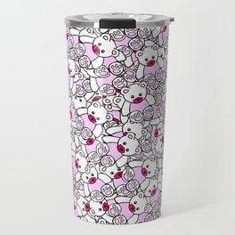 Cute Adorable Pink White Black Teddy Bear Collage Travel Mug