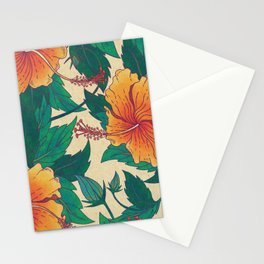 Orange Hibiscus Flowers Stationery Cards