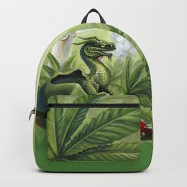 Smoking Dragon in Cannabis Leaves Backpack