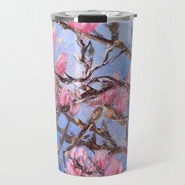 PINK MAGNOLIA - Original floral painting by HSIN LIN / HSIN LIN ART Travel Mug