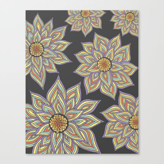 Floral Rhythm In The Dark Canvas Print
