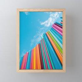 Colorful Rainbow Pipes Against Blue Sky Framed Mini Art Print