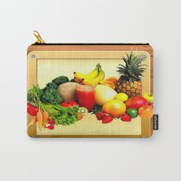Colorful Fruits on a Wooden Frame Carry-All Pouch