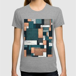Random Pattern - Copper, Marble, and Blue Concrete T-shirt