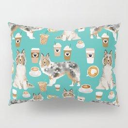 Shetland Sheepdog blue merle sheltie dog breed coffee pattern dogs portrait sheepdogs art Pillow Sham