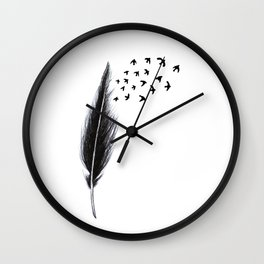 Feather and birds Wall Clock