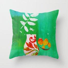 Fern & Peaches Still Life Throw Pillow
