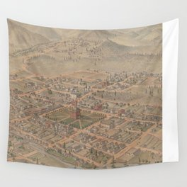 Vintage Pictorial Map of Prescott Arizona (1885) Wall Tapestry