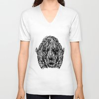 anxiety V-neck T-shirts featuring Anxiety by Ryan Bussard
