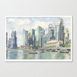 Marina Bay and the Merlion Canvas Print
