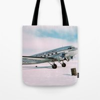aviation Tote Bags featuring Vintage aviation photograph Alaska Airlines airplane air plane classic pilot flight travel photo by iGallery