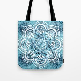 Aqua Turquoise Mandala Tote Bag