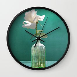 One White Rose Wall Clock