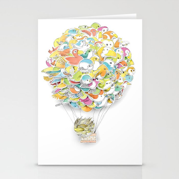 Bird Balloon Stationery Cards
