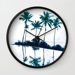 Palm Tree Reflections Teal Wall Clock