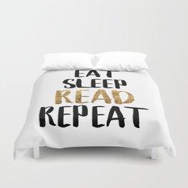 Eat Sleep Read Repeat Gold Duvet Cover