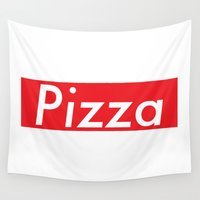 supreme Wall Tapestries featuring The Supreme Pizza by anthonykun