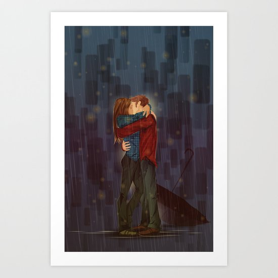 Kiss, sans Umbrella Art Print