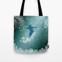 snowboarding Tote Bags featuring Snowboarding by nicky2342