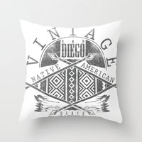 native american Throw Pillows featuring Native American by Tshirt-Factory