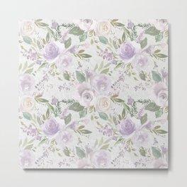 Lavender pastel green white watercolor floral pattern Metal Print