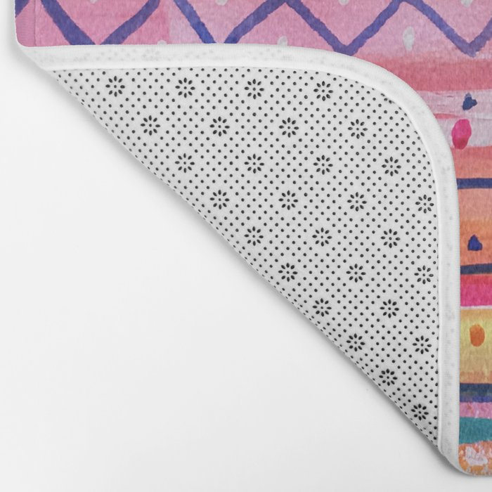 Hand painted Bright Patterned Stripes Bath Mat