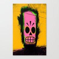 grim fandango Canvas Prints featuring Manny Calavera, Yellow version (Grim Fandango) by acefecoo