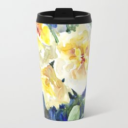 Yellow Roses and Blue Background Travel Mug