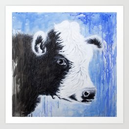 Black and White Cow Acrylic Painting Art Print