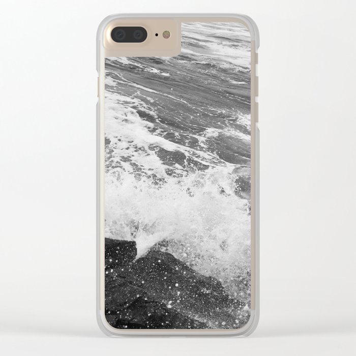 SEA on Black and White Clear iPhone Case