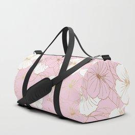 Pastel Pink & Gold Hibiscus Floral Duffle Bag