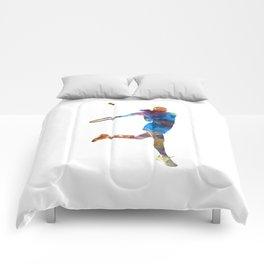 Woman tennis player 03 in watercolor Comforters