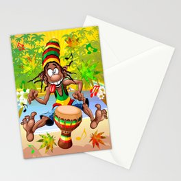 Rasta Bongo Musician funny cool character Stationery Cards