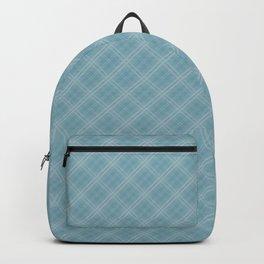 Christmas Icy Blue Velvet Diagonal Tartan Check Plaid Backpack