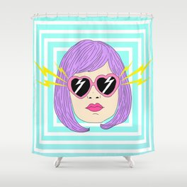 Pink Glasses Hypnotized Girl Shower Curtain