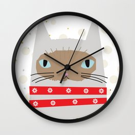 Snow White Kitty Wall Clock