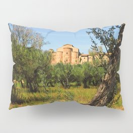 Italy, olive trees and an ancient abbey Pillow Sham