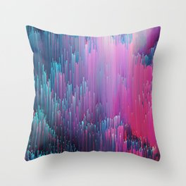 Bold Pink and Blue Glitches Throw Pillow