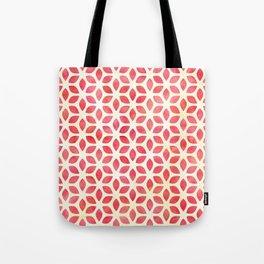 Watercolor Geometric Coral Red & Yellow Petal Pattern Tote Bag