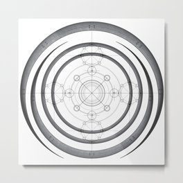 Science drawing and mechanical scheme in Ancient geometry style Metal Print