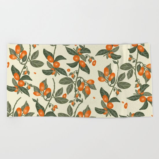 Oranges Pattern Beach Towel