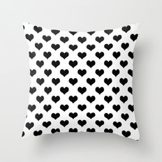 White Black Hearts Minimalist Throw Pillow