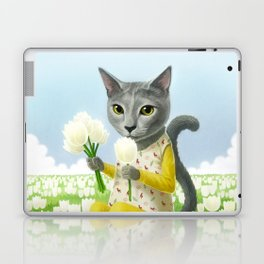 A cat sitting in the flower garden Laptop & iPad Skin