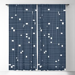 Blue and White Grid - Missing Pieces Blackout Curtain