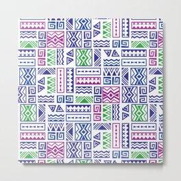 Polynesian Geometric Tapa Cloth - Purple, Green, and Magenta Metal Print