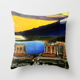 Sicily, Ruins of the Greek Theater at Taormina by Csontvary Kosztka Tivadar Throw Pillow